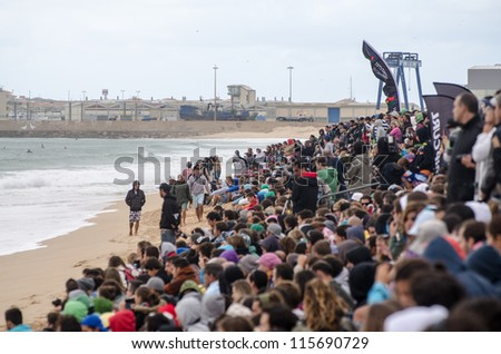 PENICHE, PORTUGAL - OCTOBER 14 : Crowd on the beach watching the Rip Curl men's Pro Portugal, October 14, 2012 in Peniche, Portugal - stock photo