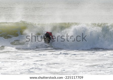 PENICHE, PORTUGAL - OCTOBER 19, 2014: John John Florence (HAW) during the Moche Rip Curl Pro Portugal, Men's World Championship Tour #10.