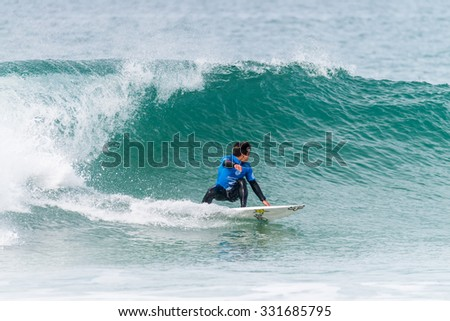 PENICHE, PORTUGAL - OCTOBER 23, 2015: Keanu Asing (HAW) during the Moche Rip Curl Pro Portugal, Men's Samsung Galaxy Championship Tour #10.
