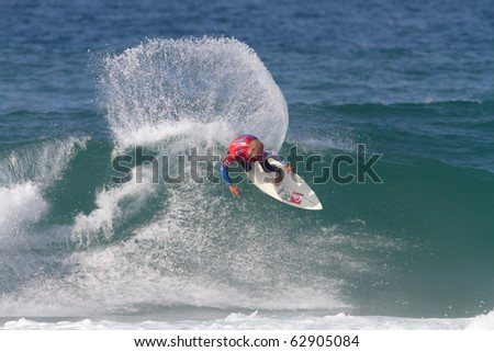 PENICHE, PORTUGAL - OCTOBER 12 :Kelly Slater (USA) in Men's Rip Curl Pro Portugal 2010, October 12, 2010 in Peniche, Portugal - stock photo