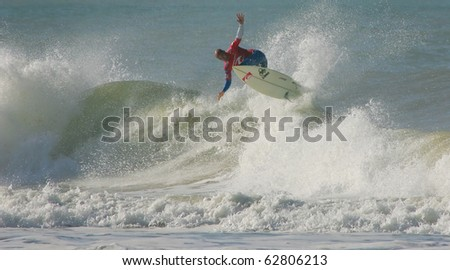PENICHE, PORTUGAL - OCTOBER 11 : Kelly Slater (USA) in Rip Curl Pro 2010 round 2 October 11, 2010 in Peniche, Portugal - stock photo