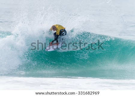 PENICHE, PORTUGAL - OCTOBER 23, 2015: Mick Fanning (AUS) during the Moche Rip Curl Pro Portugal, Men's Samsung Galaxy Championship Tour #10.