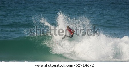 PENICHE, PORTUGAL - OCTOBER 12 : Mick Fanning (AUS) in Rip Curl Pro 2010 round 3 October 12, 2010 in Peniche, Portugal - stock photo