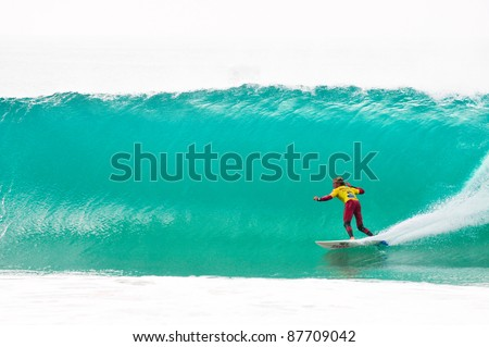 PENICHE, PORTUGAL - OCTOBER 16 : Patrick Gudauskas (USA) competes in the first round of the 2011 Rip Curl Pro on October 16, 2011 in Peniche, Portugal - stock photo