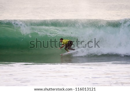 PENICHE, PORTUGAL - OCTOBER 13 : Taylor Knox (USA) during the Rip Curl men's Pro Portugal, October 13, 2012 in Peniche, Portugal - stock photo