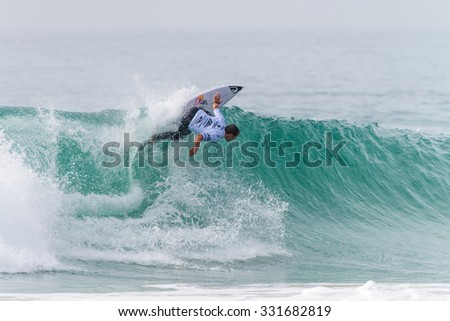 PENICHE, PORTUGAL - OCTOBER 23, 2015: Tiago Pires (PRT) during the Moche Rip Curl Pro Portugal, Men's Samsung Galaxy Championship Tour #10.