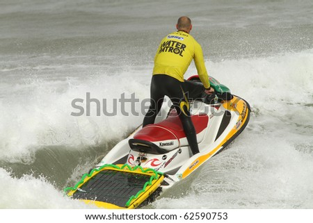 PENICHE, PORTUGAL - OCTOBER 7: Unidentified water patrol officer patrols the waters by The 3rd  Rip Curl Womens Pro Portugal, October 7, 2010 in Peniche, Portugal - stock photo