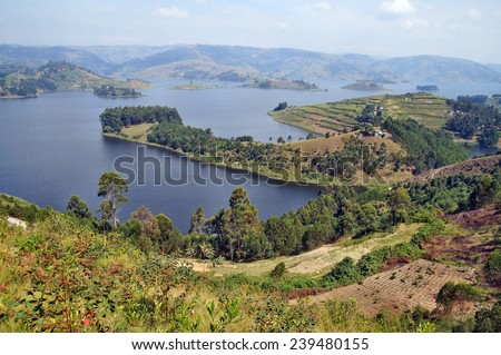 Peninsula on Lake Bunyonyi in Uganda, Africa - stock photo