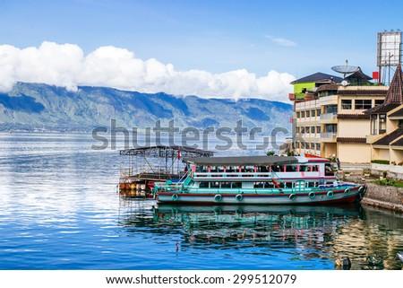 peninsula Tuk-tuk. Island Samosir, Lake Toba. Sumatra - stock photo