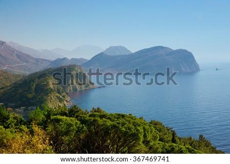 Peninsula with Mountains. Adriatic sea, landscape. Montenegro, Balkans. Petrovac.  - stock photo