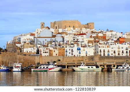 Peniscola City, Castellon, Spain - city famous for International Film Festival, beaches and tourism - stock photo