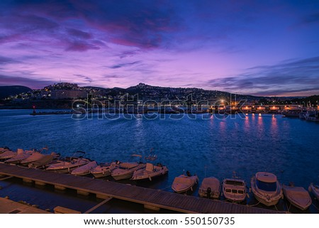 PENISCOLA - SEP 23 : Blue hour at harbor on September 23, 2015 in Peniscola town, Castellon province, Spain