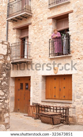 PENISCOLA, SPAIN - 4 OCTOBER 2015 - And old lady at her house in the recording set of Game of Thrones in Pen­iscola.