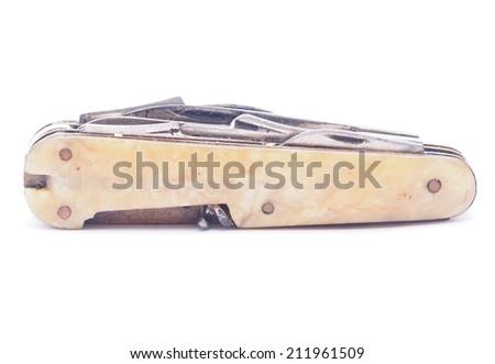 penknife isolated on white background - stock photo