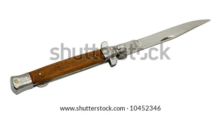 Penknife with the plastic handle on a white background.