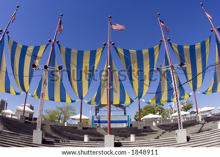 Penn's Landing Arena Banners, Philadelphia, PA - stock photo
