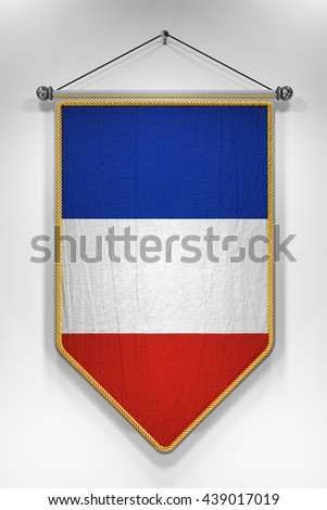 Pennant with French flag. 3D illustration with highly detailed texture. - stock photo