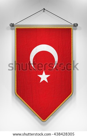 Pennant with Turkish flag. 3D illustration with highly detailed texture. - stock photo