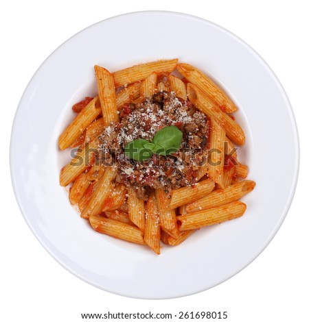 Penne Bolognese or Bolognaise sauce noodles pasta meal isolated on a plate from above - stock photo