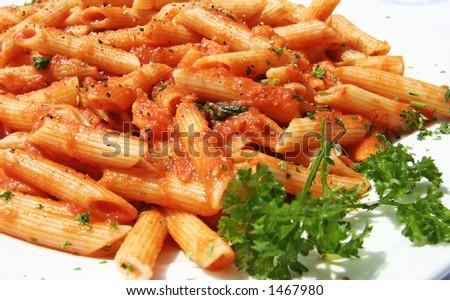 Penne Del Pescatore - pasta dish - stock photo
