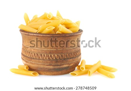 Penne italian pasta in wood bowl, isolated on white background - stock photo