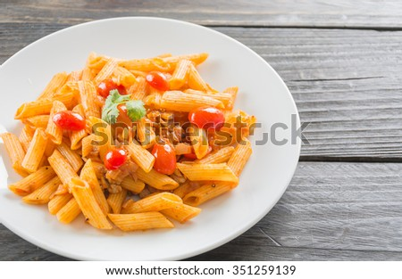 Penne pasta in tomato sauce