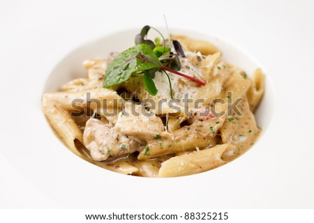 Penne pasta with chicken and mushrooms in Boletus sauce - stock photo