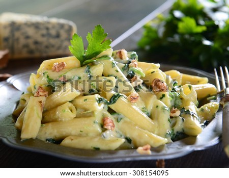 Penne pasta with gorgonzola sauce and spinach - stock photo