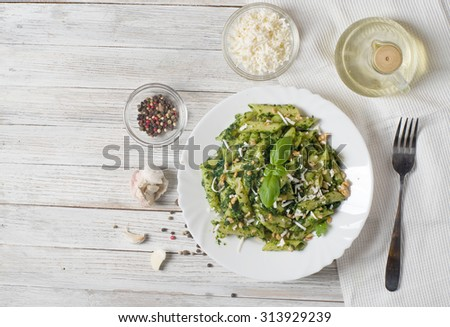 Penne Pasta with Pesto Sauce - stock photo