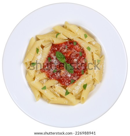 Penne Rigate Napoli with tomato sauce noodles pasta meal on a plate isolated - stock photo