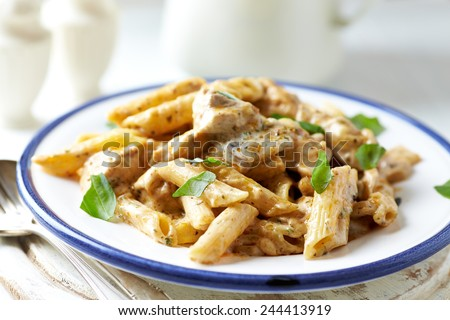Penne with chicken and cheese sauce - stock photo
