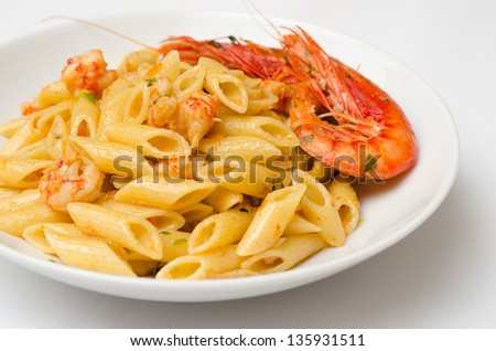 Penne with shrimps, italian pasta