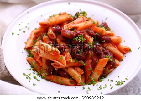penne with tomato and beans
