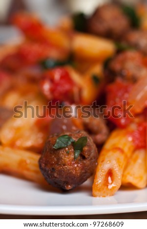 Pennette with meatballs