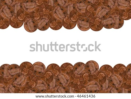 Pennies border - stock photo