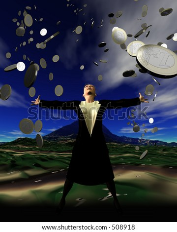 Pennies from heaven - a woman is showered with a rainfall of money - stock photo