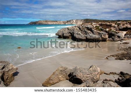Pennington Bay, Kangaroo Island, South Australia. Kangaroo Island is one of South Australia's most popular tourist attractions, attracting over 140,000 visitors each year. - stock photo