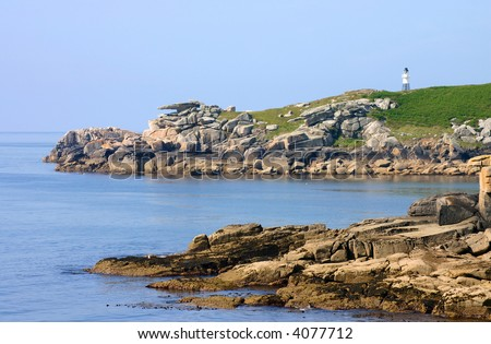 Penninis lighthouse and Pulpit rock, St. Mary?s, Isles of Scilly, Cornwall, UK