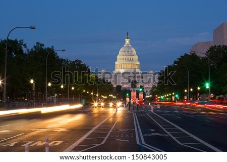 Pennsylvania Avenue and Capitol Building, Washington D.C., USA - stock photo