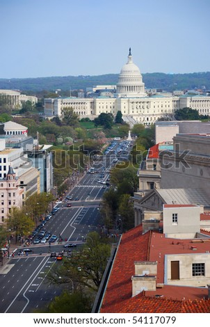Pennsylvania avenue, Washington DC, aerial view with capitol hill building and street - stock photo