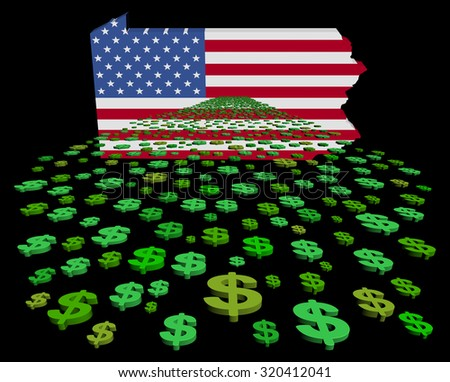 Pennsylvania map flag with abstract dollars illustration - stock photo