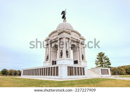Pennsylvania Memorial monument at the Gettysburg National Military Park, Pennsylvania - stock photo