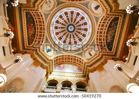 Pennsylvania State Capital building interior dome - stock photo
