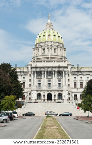 Pennsylvania state capitol in downtown Harrisburg - stock photo
