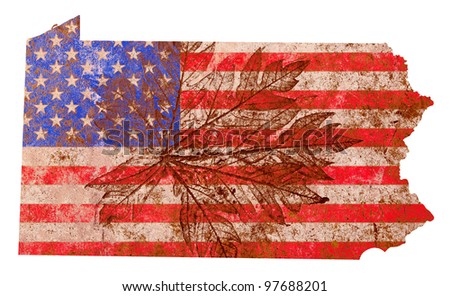 Pennsylvania state of the United States of America in grunge flag pattern isolated on white background - stock photo
