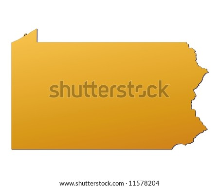 Pennsylvania (USA) map filled with orange gradient. Mercator projection. - stock photo