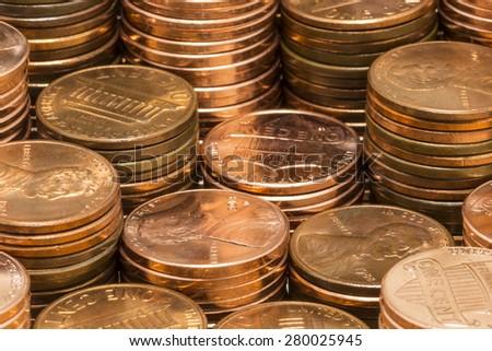 Penny Stacks - stock photo