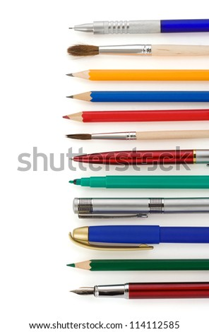 pens and pencils isolated on white background - stock photo