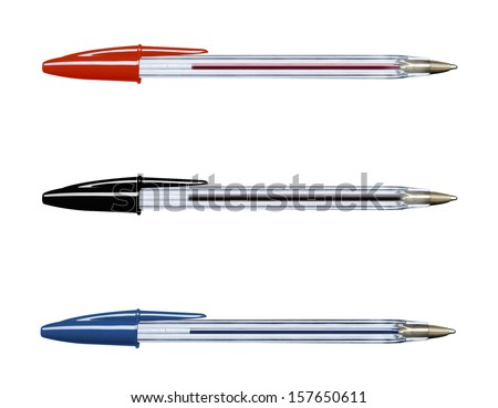 Pens collection isolated on white (with clipping work path) - stock photo