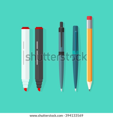 Pens, pencil, markers set isolated on green background, ballpoint pens, lead orange pen with red rubber eraser, flat pen and pencils, stationery set cartoon illustration design image - stock photo